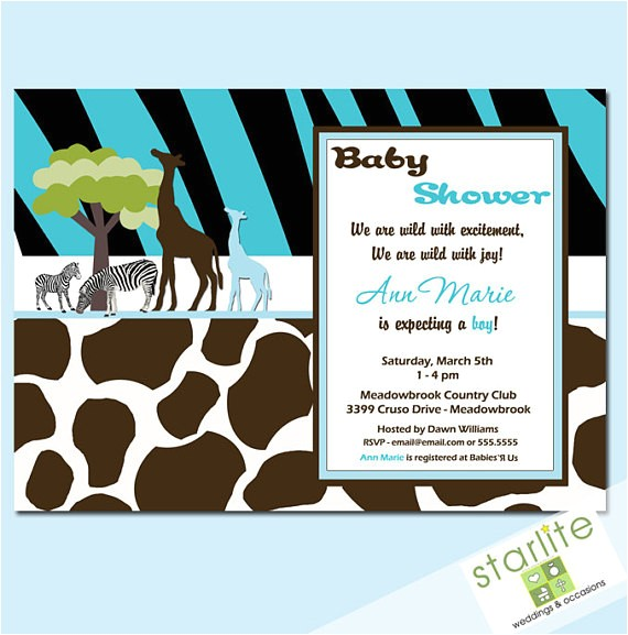baby shower invitations wild safari blue