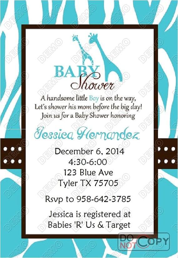 wild blue safari baby shower invitation