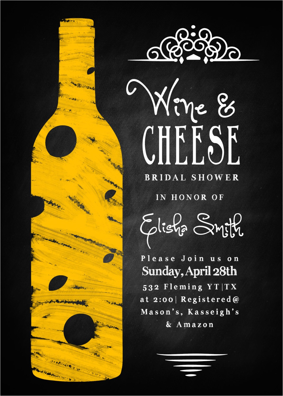 wine cheese bridal shower invitation