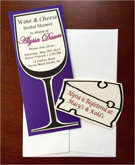 wine glass bridal shower invitations