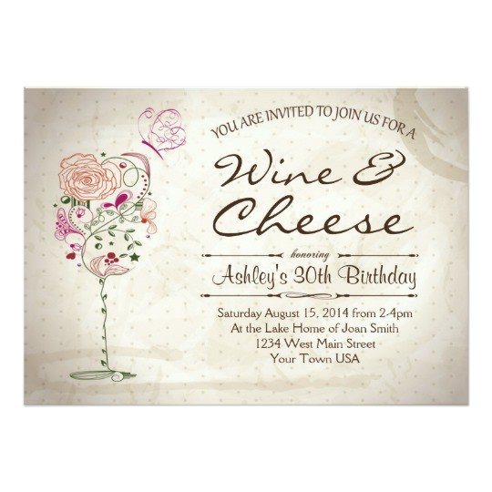 wine cheese birthday invitation