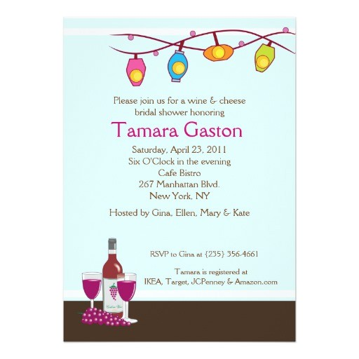 wine and cheese 5x7 bridal shower invite