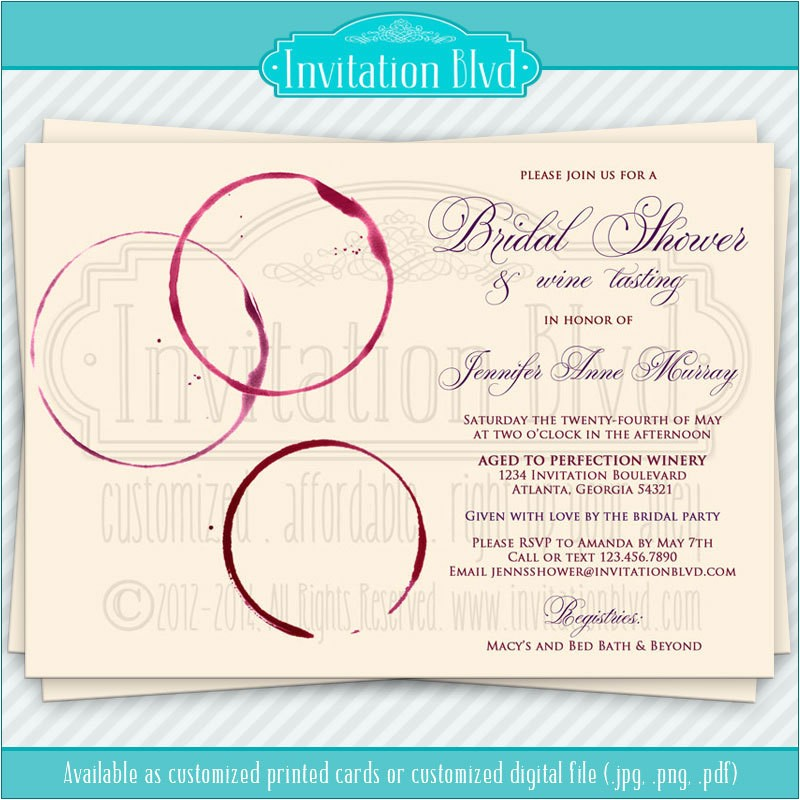 wine tasting invitation bridal shower