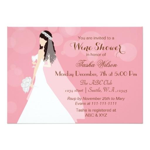 pink wine tasting bridal shower invites