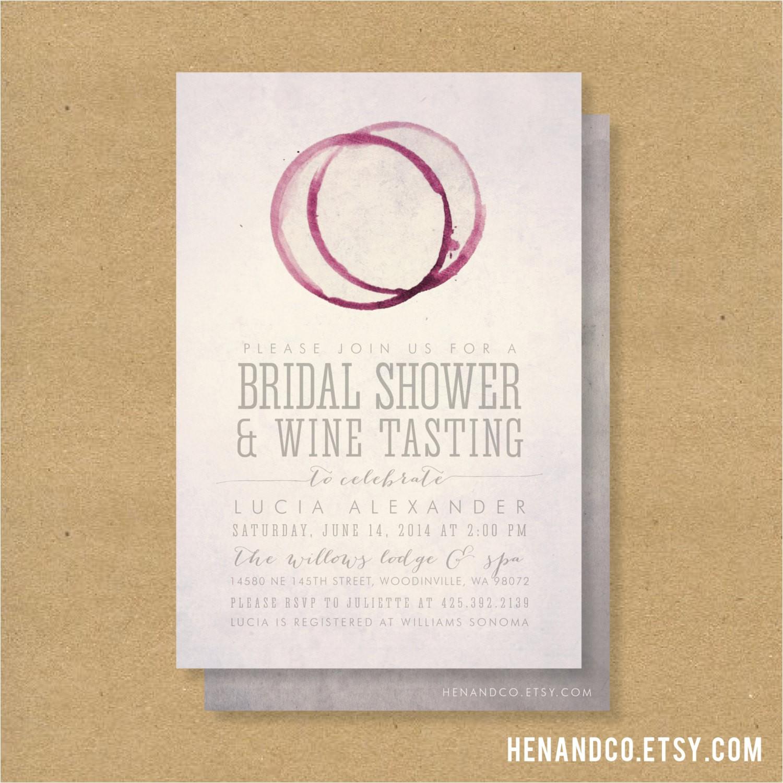 wine tasting bridal shower invitation