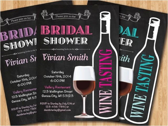 wine tasting bridal shower invitation wedding shower pink purple tiffany blue black and white chalkboard printable digital diy