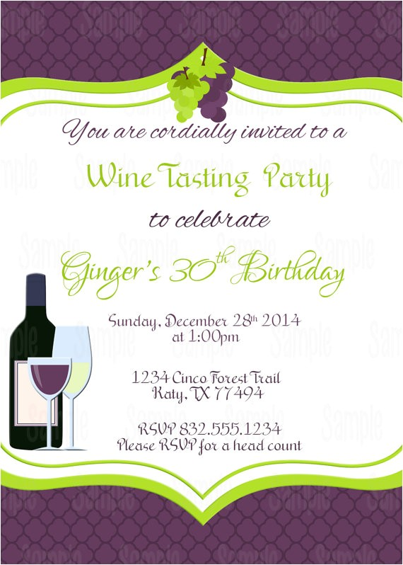 printable wine tasting birthday invitation free