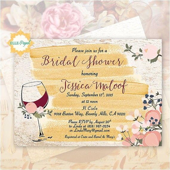 wine themed invitation bridal shower
