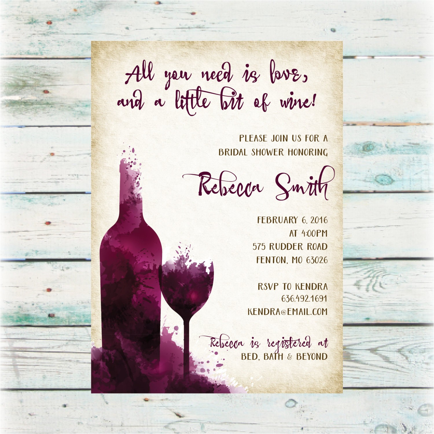 Winery Bridal Shower Invitations Diy Wine Party Bridal Shower Invitation Digital File