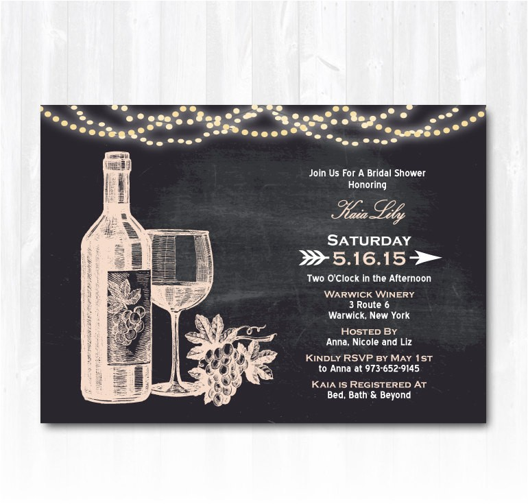 wine bridal shower invitation with