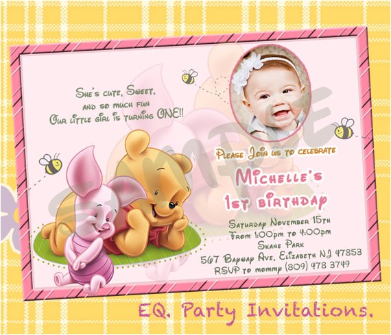 winnie the pooh 1st birthday invitations