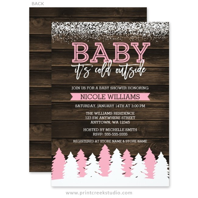 baby cold outside winter girl baby shower invitations