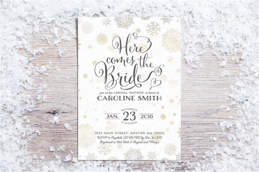 printable bridal shower invitations winter bridal shower invitation holiday bridal shower invite snowflakes gold 3 colors 01