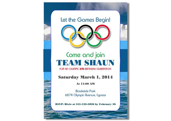 winter olympics birthday invitation