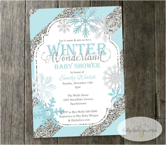 winter wonderland baby shower invitation