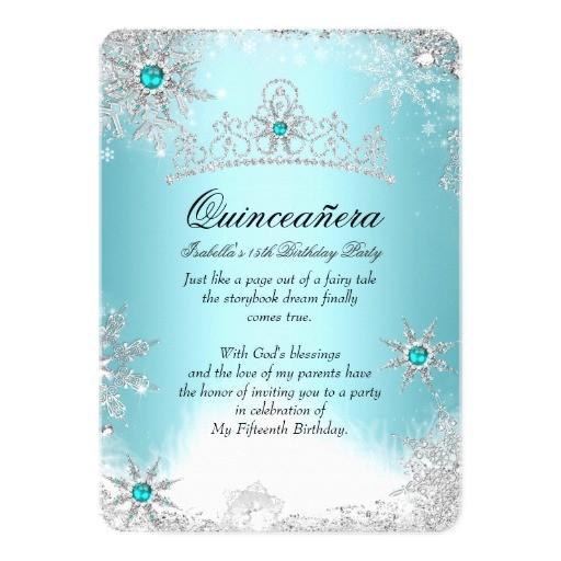quinceanera 15th winter wonderland silver blue 2 invitation 256592140867311606
