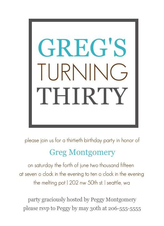 birthday invitation template 30th birthday