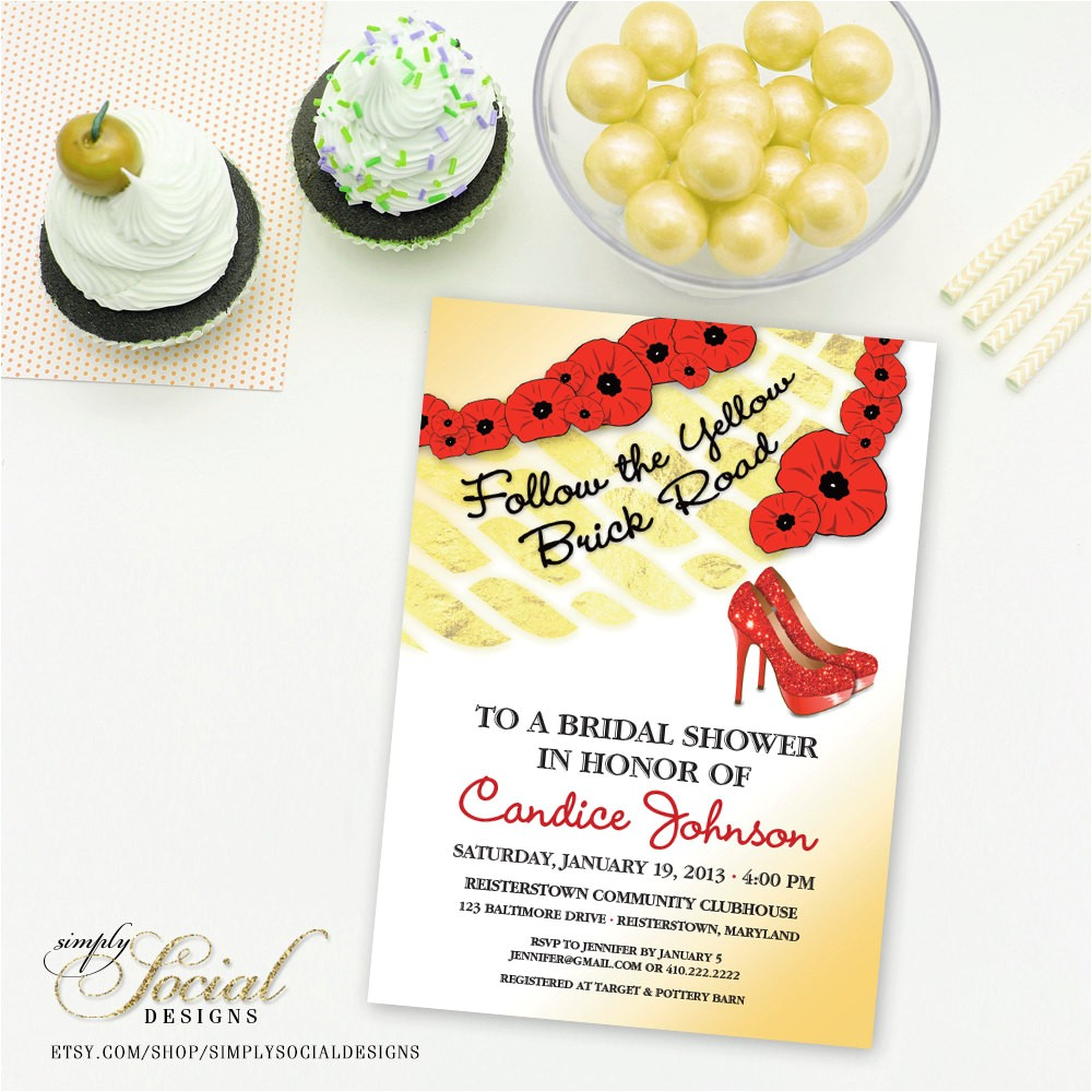 wizard of oz bridal shower invitation