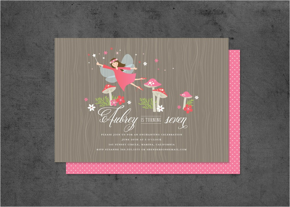 woodland fairy party invitation with