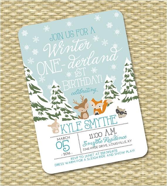 winter onederland 1st birthday invitation first
