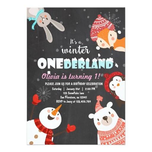 winter onederland birthday woodland invitation 256515514992647076