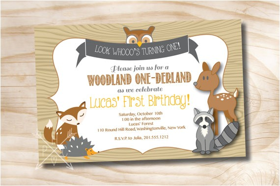 woodland derland birthday party invitation digital