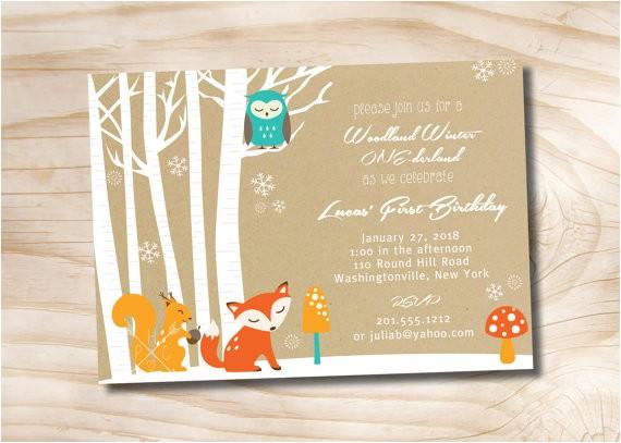 woodland winter derland birthday party invitation