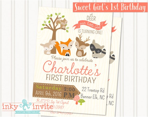 girls woodland 1st birthday party invitation