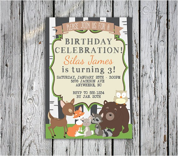 woodland animals birthday invitation