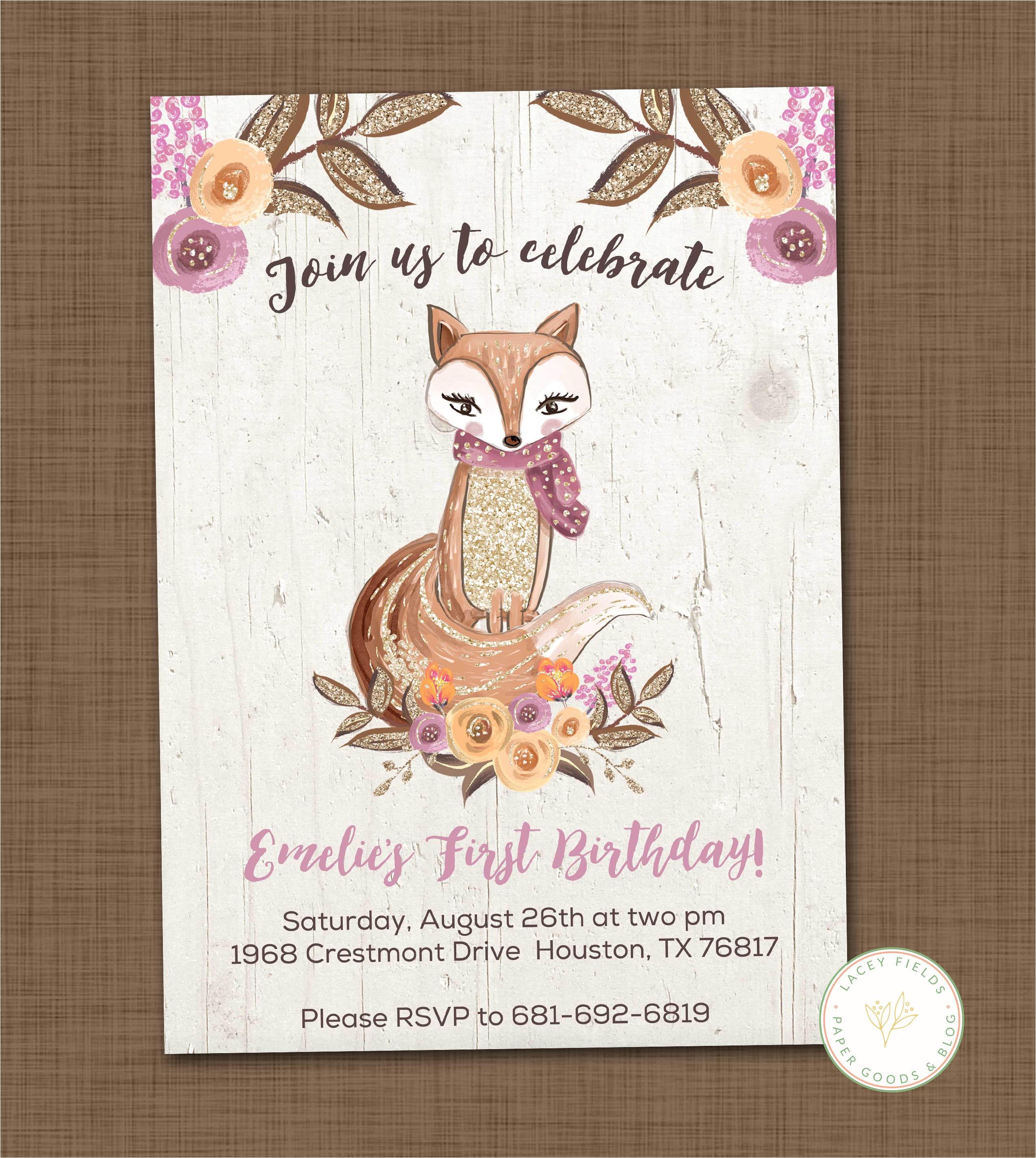 girls woodland birthday invitation printable fox birthday woodland theme invitation first birthday party p 4848