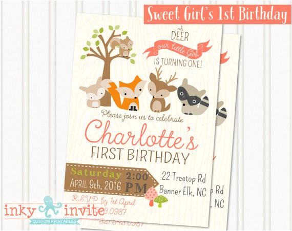 girls woodland 1st birthday party invitation