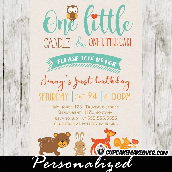 Woodland themed First Birthday Invitations Woodland themed Birthday Invitation forest Animals