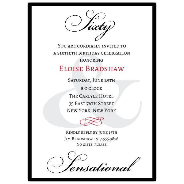 Classic 60th Birthday Milestone Invitations p 607 57 60