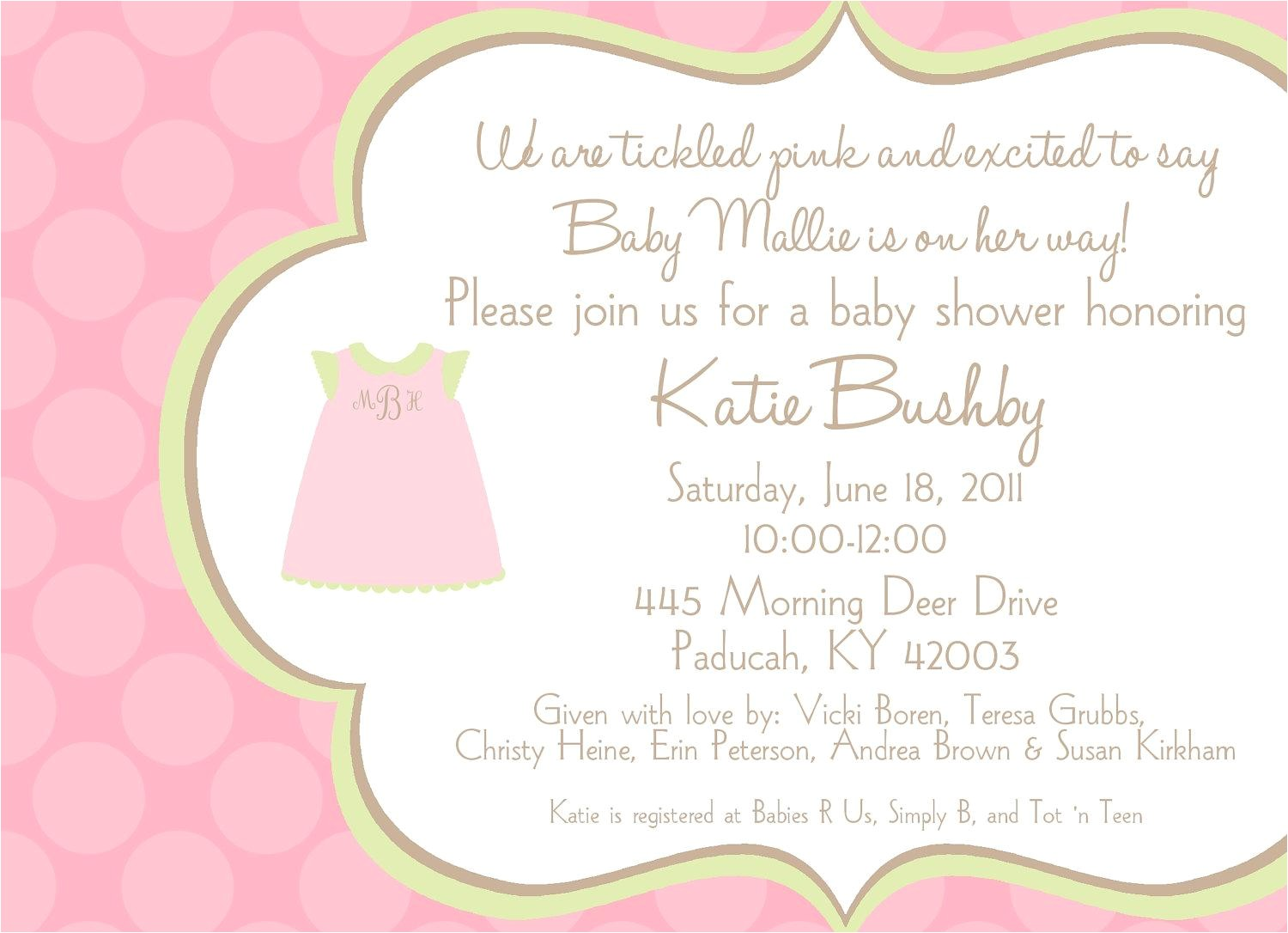 Wording for Baby Shower Invitation Baby Shower Invitation Wording for A Girl