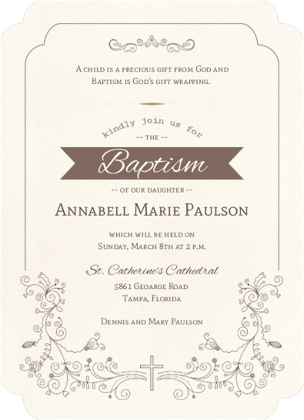 catholic baptism invitation wording