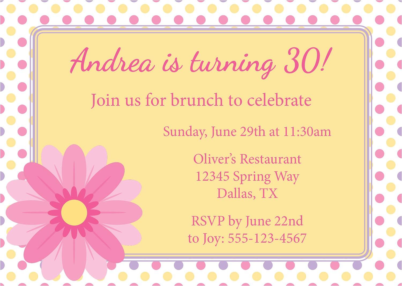 spring brunch birthday brunch invitation