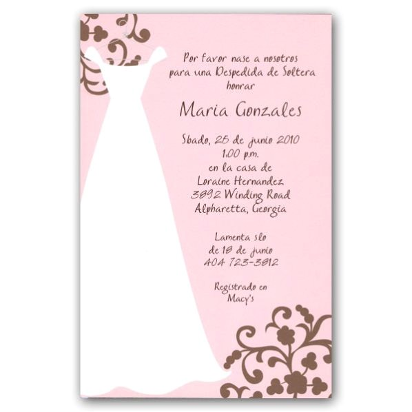 Wording for Bridal Shower Invitations In Spanish Spanish Pink Bridal Shower Invitations Paperstyle