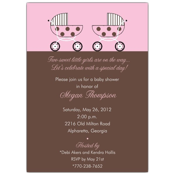 Baby Shower Twin Pink Invitations p 610 57 041P