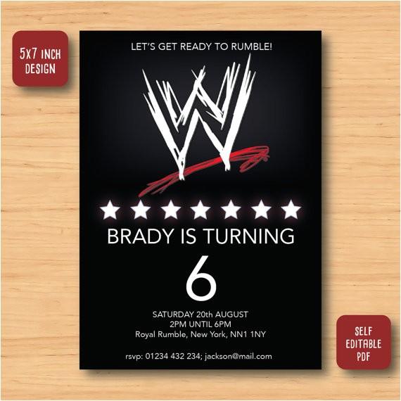 wwe wrestling birthday invitation self