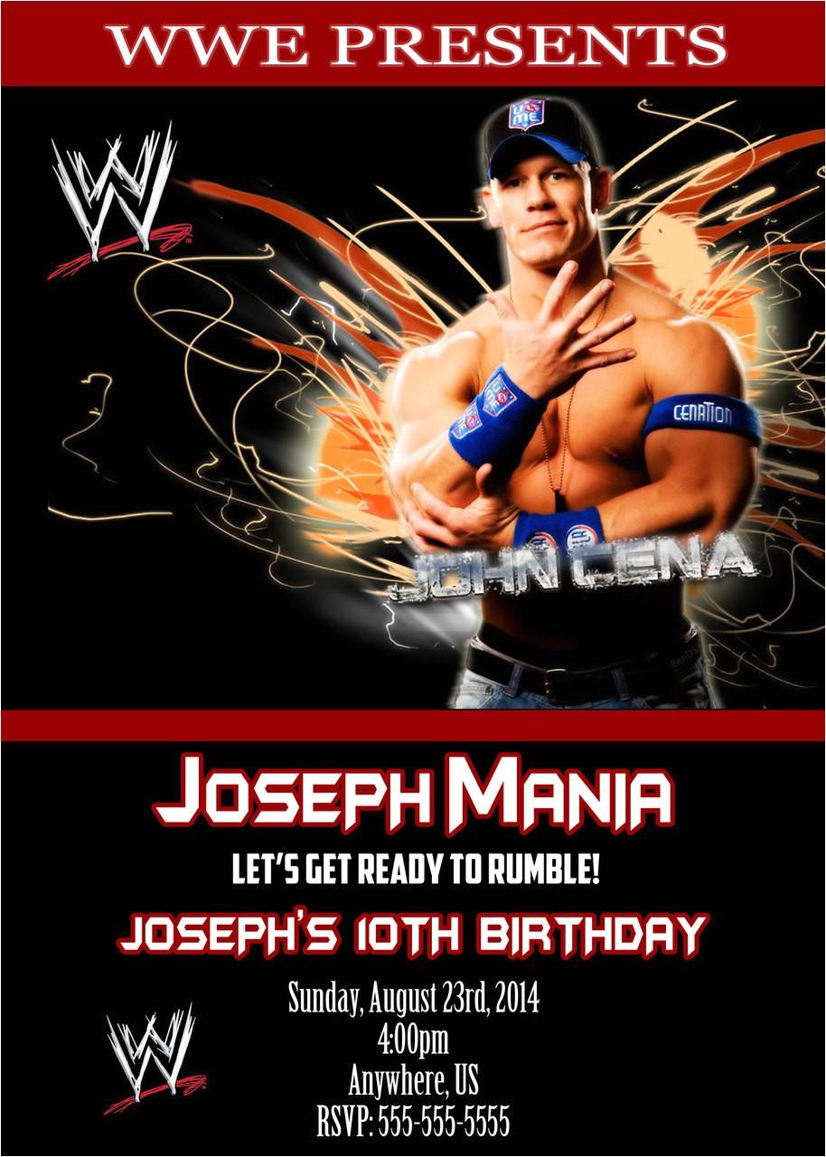 wwe john cena birthday invitations