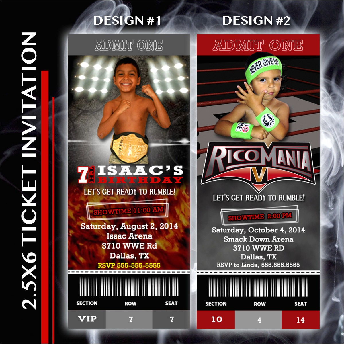 wrestling party ticket invitation