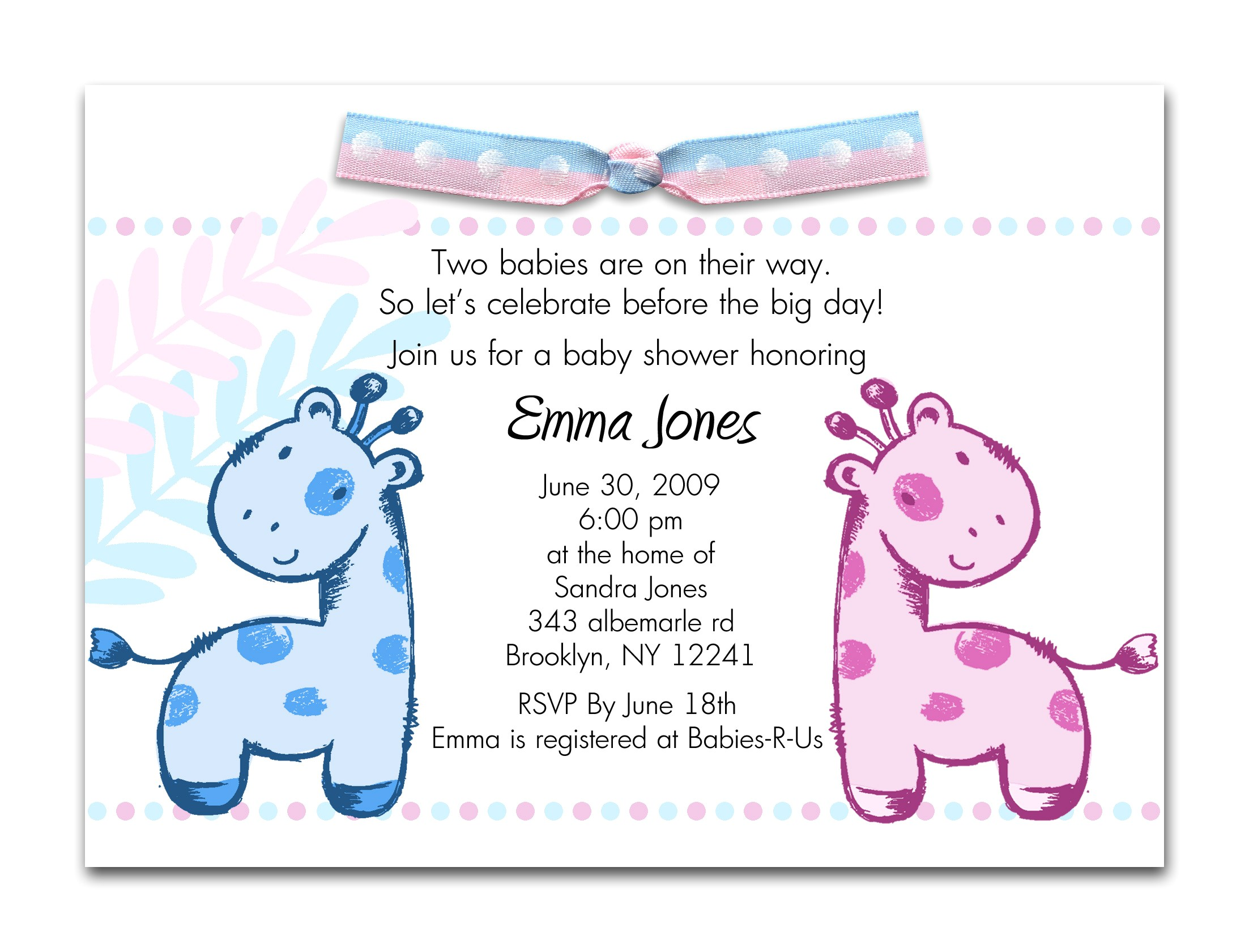 printable baby shower invitations twins