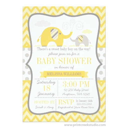 mod yellow gray elephant baby shower invitation