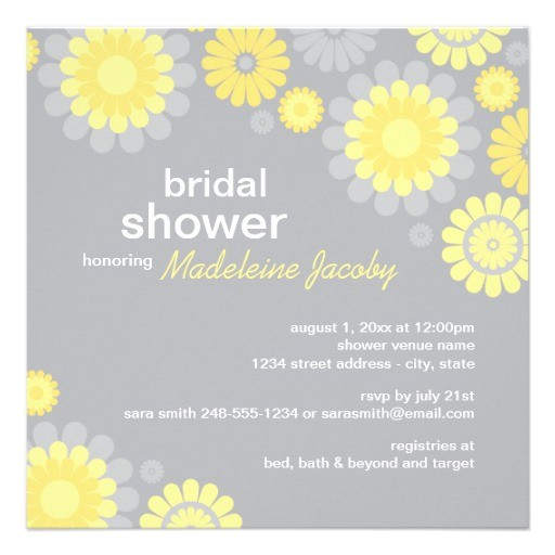 bridal shower invitation yellow gray daisy 161596644194615035