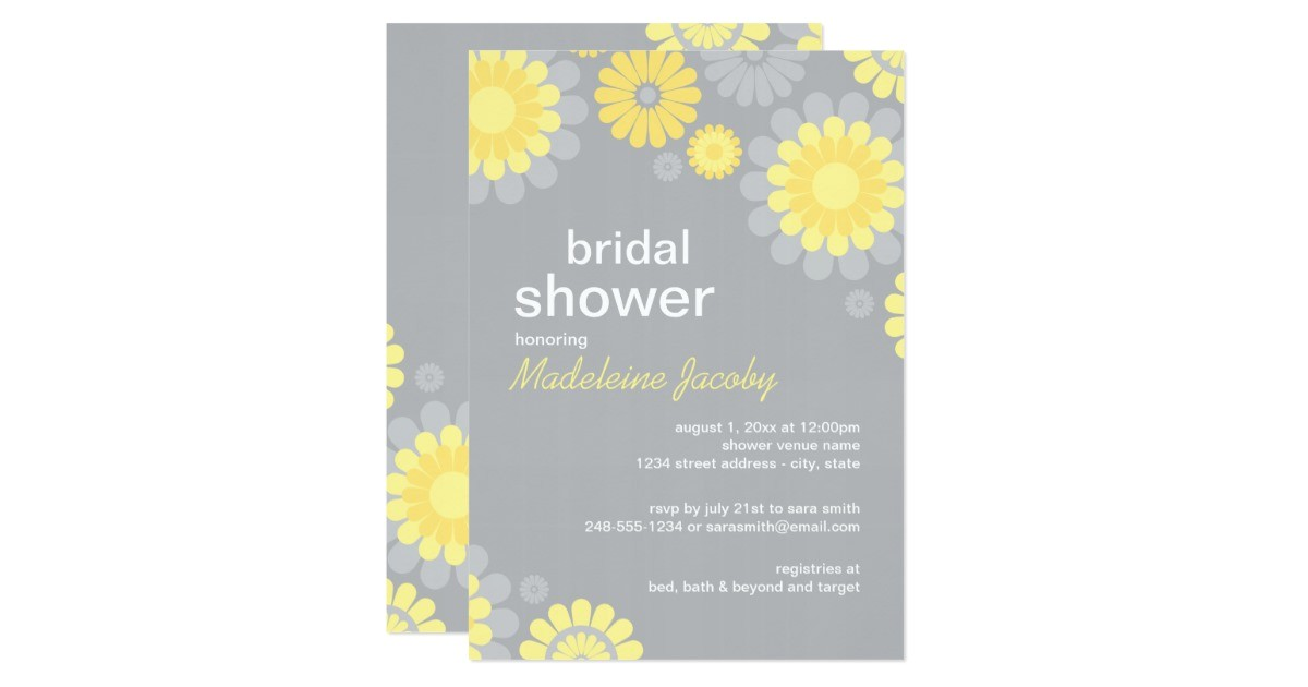 bridal shower invitation yellow gray daisy 161924239745741125