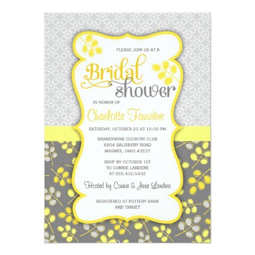 modern yellow grey elegant bridal shower invitation 161453355781526231