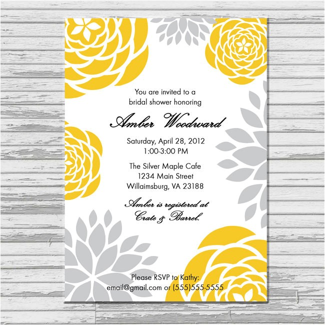 yellow and gray grey bridal shower
