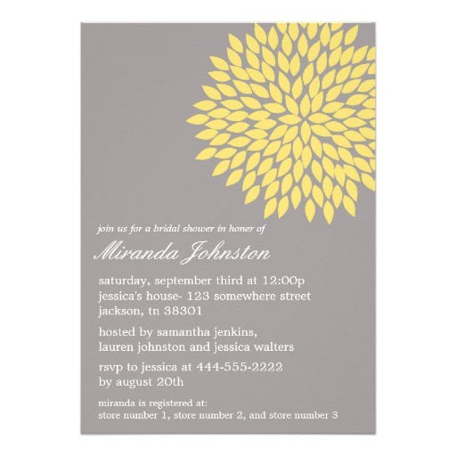 yellow gray flower bridal shower invitations 161198751293031244