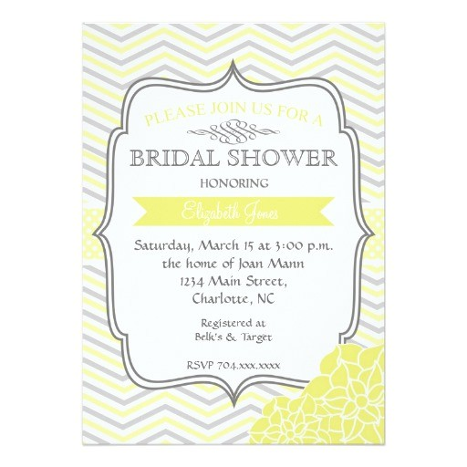 yellow grey vintage bridal shower invitation 161775616442544975