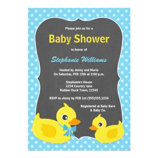 rubber ducky baby shower invitation blue yellow